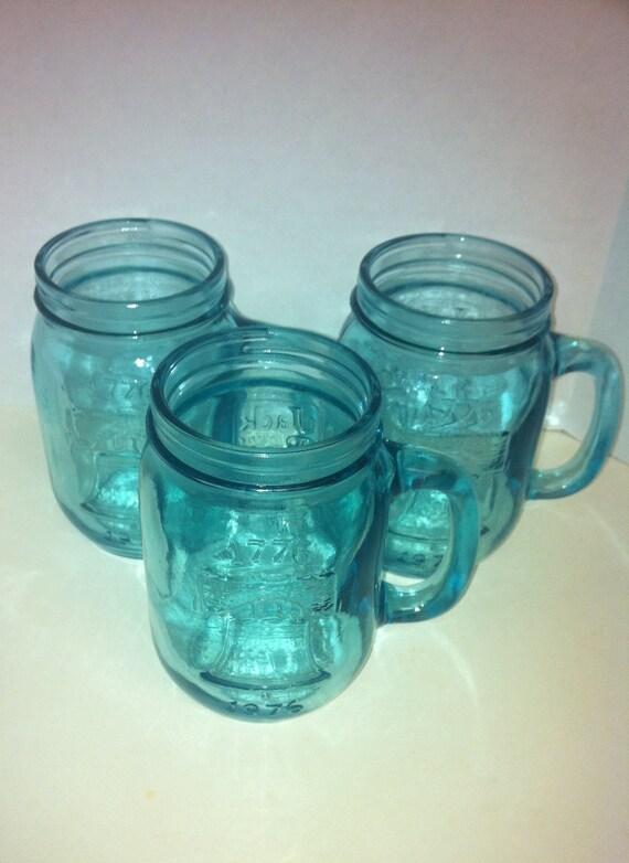 Blue Glass Liberty Mugs- Bicentennial 1776/1976- Jack in the Box