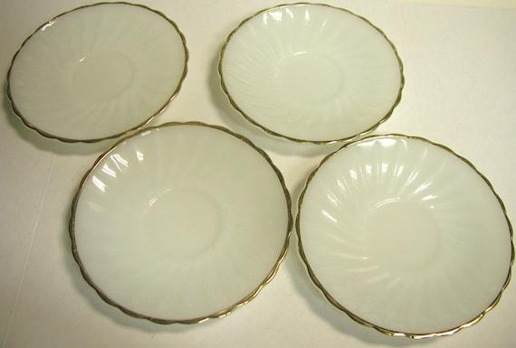 Vintage Anchor Hocking Suburbia White Milk Glass Saucers- Set of 4