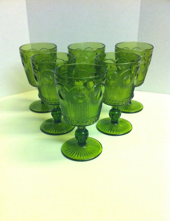 Avocado Green Stemmed Glass Goblets, Set of 6