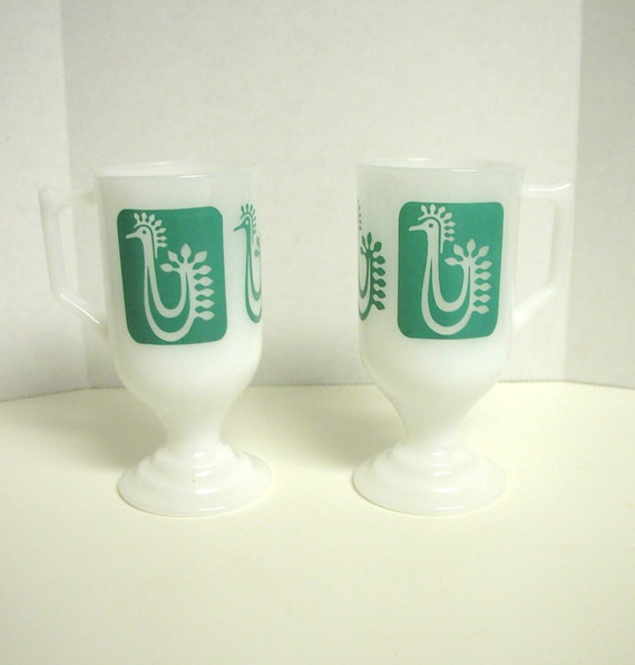 Vintage Footed Milk Glass Irish Coffee Rooster Mugs, Set of 2