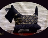 "Black Scottie Royal Companion Silhouette Pillow - This ones name is ""Basil"""