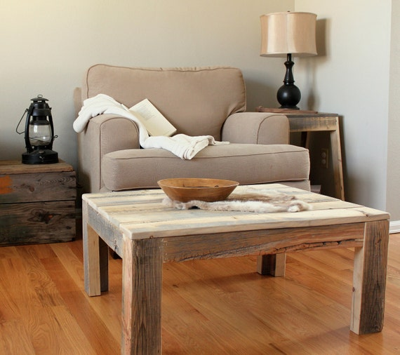 Reclaimed wood coffee table, Parsons Coffee Table