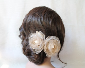 Bridal Ivory Organza  Hair Clips with  Bloom Flowers Set  of Two, Wedding Hair Fascinator