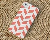 Herringbone iPhone Case in Coral