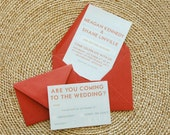 Meagan Retro Typography Printable Wedding Invitation Set in Steel and Coral - Customize & Pick Your Colors