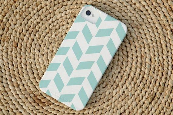 Herringbone iPhone 4 Case in Island Blue