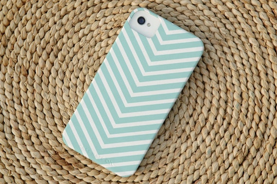Chevron Stripe iPhone 4 Case in Island Blue