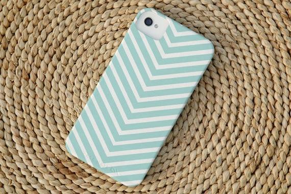 Chevron Stripe iPhone 4 Case in Island Blue