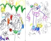 The Fun Cards... 4 large whimsical fantastic greeting cards by me, Lyla... I am 5 yrs. old and have a wild imagination.