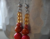 Orange and Coral Pink Salvaged Bead Earrings