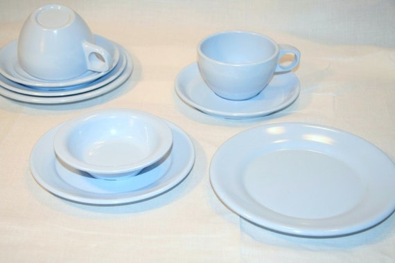 ARROWHEAD Melmac Dishes Tea Set for Two in Robin Egg Blue