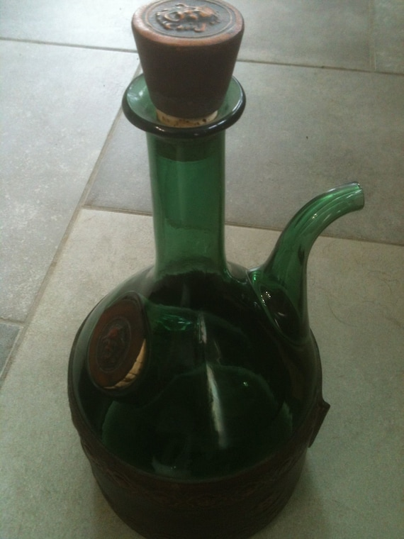 Now on sale Nana's Vintage Leather and Green Glass Wine Decanter with Ice Chamber
