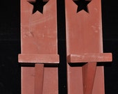 2 Barn Red Sconce with Primitive Star Cutout
