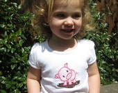 Girls Pig Tshirt - Girls Applique Pig T-Shirt  - Cute Pig in Mud Puddle T shirt