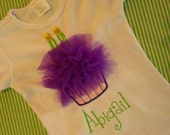 Personalized 2nd Birthday Girls Tulle Cupcake T-Shirt - Tutu Cupcake with TWO Candle Applique Girls TShirt