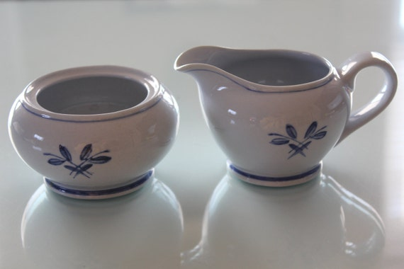 Blue Rose Creamer and Sugar Bowl by Arabia of Finland