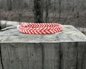 Two Color Chevron Friendship Bracelet. Red & White