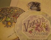 Vintage Paper Ephemera  Embossed -  French Perfume Bottle Cards - French Powder Compact Cards - 4 pieces
