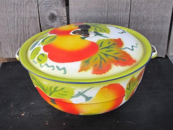 Vintage Enamelware Bowl With Fruit Motif