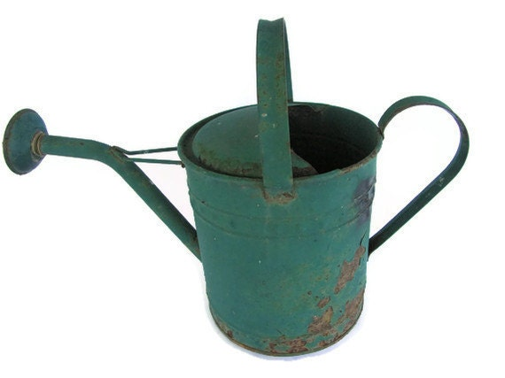Mary Mary..quite contrary...Vintage Green Chippy Paint Watering Can Garden Shabby Chic