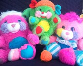 Vintage 1986 Mattel Popples Prize, Putter & Baby Cribsy, Collectible Plush, Toys, Stuffed Animals, GIFT