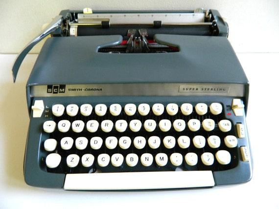 Smith Corona Typewriter Super Sterling Manual Dark Blue