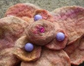 Hand Dyed and Felted - Coral flower brooch with Lilac beads