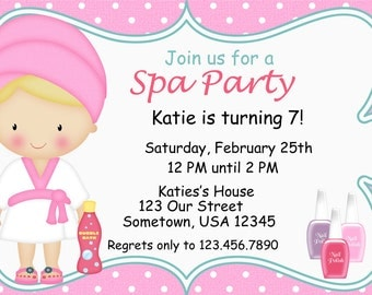 Spa Party Invitations PRINTABLE - Birthday Party - Baby Shower