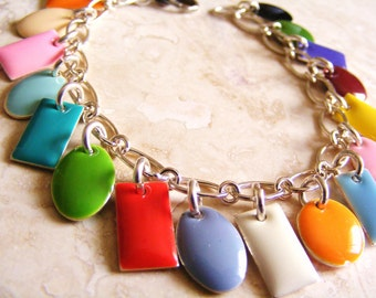 Multicolored Rainbow Enamel Charm Bracelet