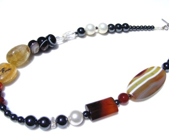Gemstone Necklace of Hematite Pearl Citrine Carnelian and More