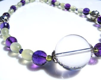 Fresh Green Prehnite Amethyst and Crystal Gemstone Necklace