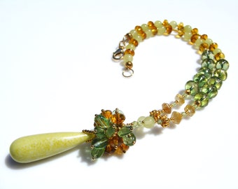 Shades of Green and Gold Gemstone Cluster Pendant Necklace