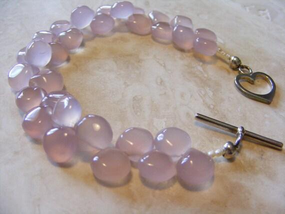 Lovely Lilac Pink Chalcedony Briolette Bracelet