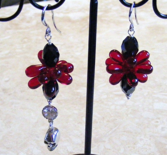 Asymmetrical Goth Blood Red Droplet Blossom and Sterling Skull Earrings
