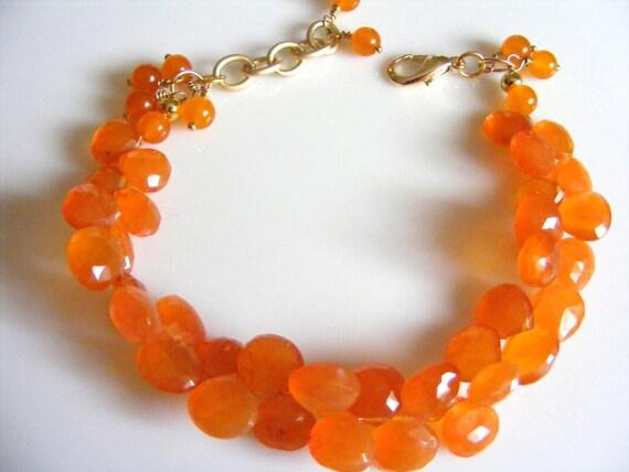 Carnelian Briolette Bracelet in Juicy Tangerine