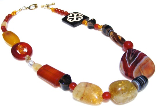 Gemstone Necklace of Banded Agate Smoky Quartz Carnelian and More
