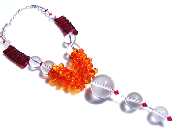 Unique Crystal Quartz Fire Opal and Red Crystal Statement Necklace