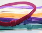 Interchangeable Velvet Elastic Headbands -  set of 3