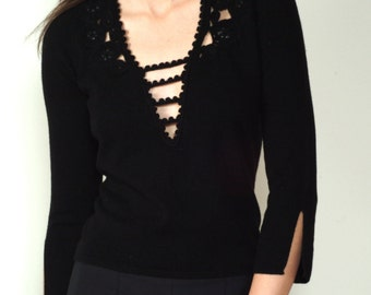 black cashmere v neck with crochet detail and semi precious stones