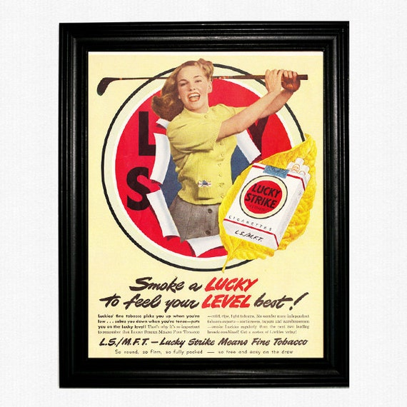 """Lucky Strike Golf Pinup Ad - 1947 Life Magazine - """"Smoke A Lucky to Feel Your Level Best"""""""