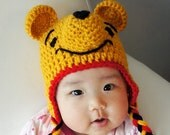 Winnie the Pooh Hat, Crochet Baby Hat, Bear Baby Hat, Animal Hat, Yellow, photo prop