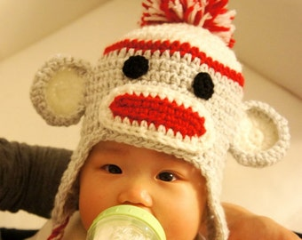 Sock Monkey Hat, Crochet Baby Hat, Baby Hat, Animal Hat, Red, photo prop