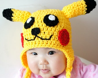 Pikachu Hat, Pokemon, Crochet Baby Hat, Baby Hat, Animal Hat, Yellow, photo prop, Inspired by Pikachu