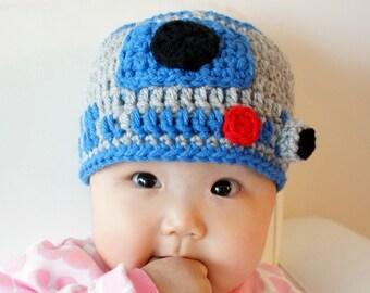 R2D2 hat, Star Wars hat, Crochet R2-D2 Hat, Crochet Baby Hat, Robot, photo prop, Inspired by Star Wars
