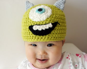 Monster Hat, Mike, One Eye, Crochet Monster Hat, Crochet Baby Hat, Animal Hat, Green, photo prop, Inspired by Monsters Inc