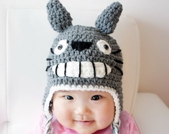 Totoro Hat, Crochet Baby Hat, Baby Hat, Animal Hat, Grey, photo prop, Inspired by Totoro