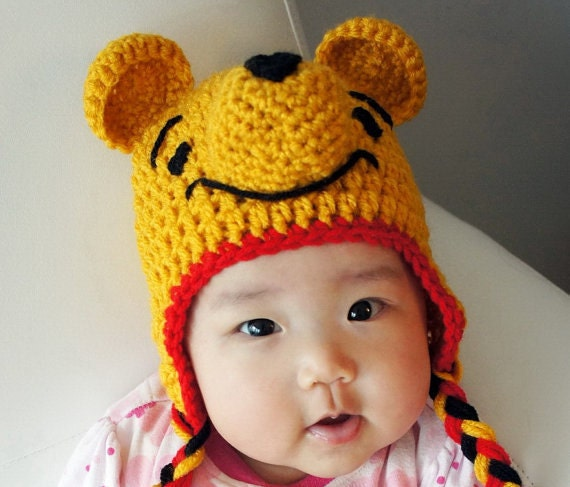 Free Crochet Pattern Baby Girl Boots : Winnie the Pooh Hat Crochet Baby Hat Bear Baby Hat Animal