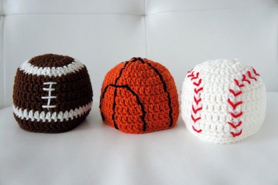 Sports Hats, Baseball, Basketball, Football, Crochet Sports Hats, Crochet Baby Hat, Baby Hat, photo prop