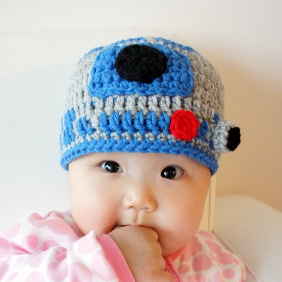 R2D2 hat, Star Wars hat, Crochet R2-D2 Hat, Crochet Baby Hat, Robot, photo prop, Inspired by Star Wars