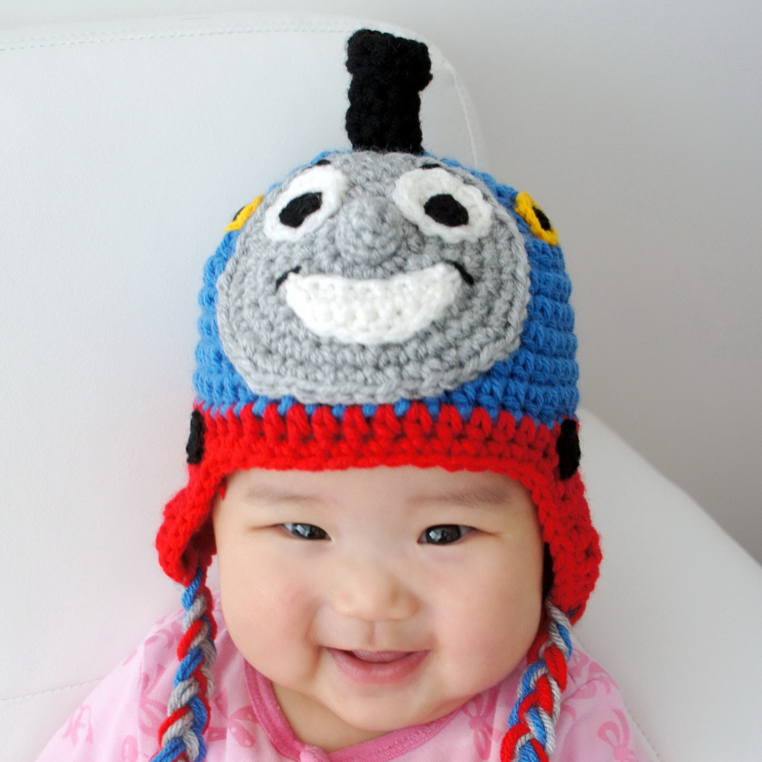 Free Crochet Hat Pattern For Thomas The Train : Thomas the Train Hat Crochet Baby Hat Train Hat by ...